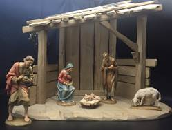 "Anri® Wood Carved Nativity 6"" 5pc Figures with Stable Anri® Wood Carved Nativity 6"" Figures with Stable, ANRI, wood, woodcarved, nativity, italy, creche, krippe, kuolt"