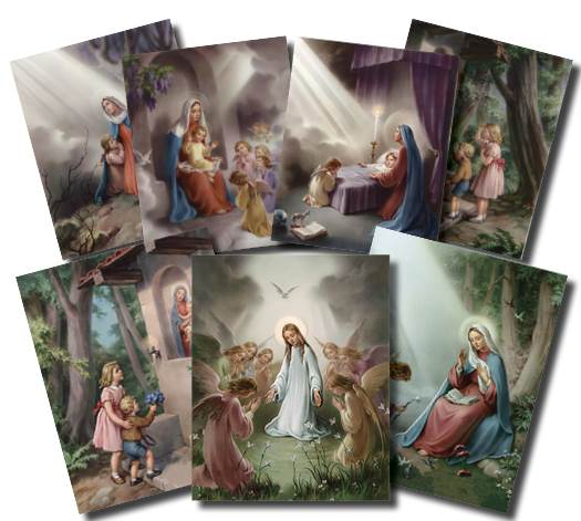 8X10 Hail Mary Lithographs, Set of 9 hail mary, prayer pictures, classroom prints, teachers tools, wall hangings, pos-1472
