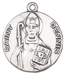 St. Dennis Medal on Chain patron saint necklace, sterling silver necklace, pendant on chain, round medal,  jewelry, gift, jc-148/1mft, patron saint of headaches,