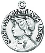 St. Elizabeth Ann Seton Medal on Chain patron saint necklace, sterling silver necklace, pendant on chain, round medal,  jewelry, gift, jc-155/1mft,