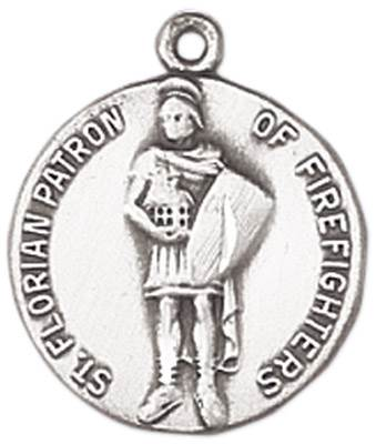 St. Florian Medal on Chain JC-96/1MFT,patron saint medal, sterling silver medal, chain, necklace, pendant, first communion gift, confirmation gift, sacramental gift,