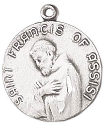St. Francis of Assisi Medal on Chain JC-97/1MFT,patron saint medal, sterling silver medal, chain, necklace, pendant, first communion gift, confirmation gift, sacramental gift,