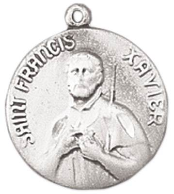 St. Francis Xavier Medal on Chain JC-99/1MFT,patron saint medal, sterling silver medal, chain, necklace, pendant, first communion gift, confirmation gift, sacramental gift,