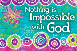Pass It On-Nothing is Impossible 29139, message cards, holy cards, bookmarks, prayer cards, thougts, card to share, group gifts, inspirational gift, sacramental gifts,