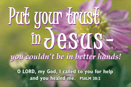 Pass It On-Put your trust in Jesus 29059, message cards, holy cards, bookmarks, prayer cards, thougts, card to share, group gifts, inspirational gift, sacramental gifts,