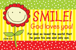Pass It On-SMILE God Loves You 29057, message cards, holy cards, bookmarks, prayer cards, thougts, card to share, group gifts, inspirational gift, sacramental gifts,