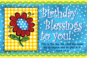 Pass It On-Birthday Blessings to You 29039, message cards, holy cards, bookmarks, prayer cards, thougts, card to share, group gifts, inspirational gift, sacramental gifts,