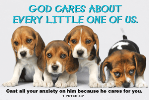 Pass It On-God Cares 29009, message cards, holy cards, bookmarks, prayer cards, thougts, card to share, group gifts, inspirational gift, sacramental gifts,