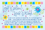 Pass It On-Love is Patient 28005, message cards, holy cards, bookmarks, prayer cards, thougts, card to share, group gifts, inspirational gift, sacramental gifts,