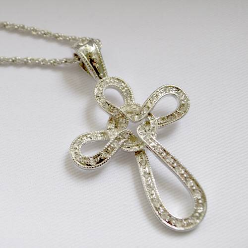 Clear Loop Cross Necklace cross  necklace, jewelry, tube cross, pewter cross, sacramental gift, necklace gift, ring necklace, rgwn/8958