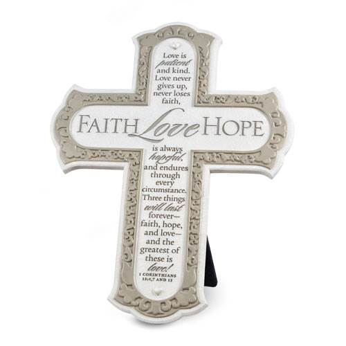 "8"" Standing Cross Faith Love Hope standing cross, cross, wedding cross, shower gift, wedding gift, faith hope love, 11880"