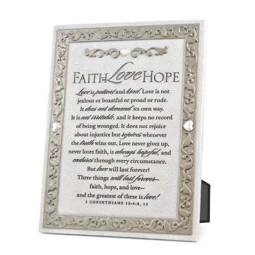 "8"" Faith Hope Love Plaque"