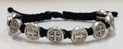 Black/Silver St. Benedict Blessing Bracelet with Story Card favors, bracelet, blessing bracelet, medjugorje bracelet, st benedict bracelet, colored bracelet, handmade bracelets, girl gift, boy gift, sacramental gift, healing gift, prayer gift, first communion gift, reconciliation gift, confirmation gift, graduation gift, quantity discounts,