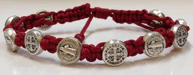 Maroon/Silver St. Benedict Blessing Bracelet with Story Card