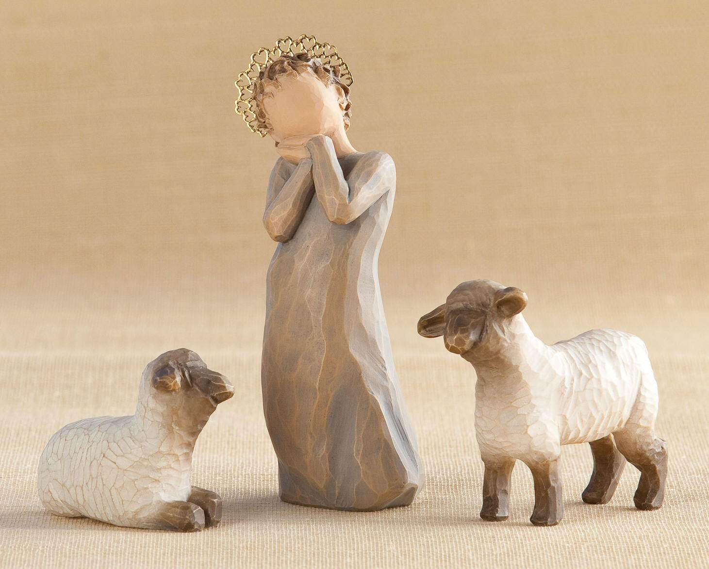 Willow Tree™ Little Shepherdess with Lambs nativity, willow tree set, christmas nativity, holiday gift, wedding gift, indoor nativity, home nativity, 26442, shepherdess, sheep, lamb,