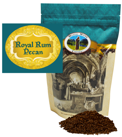 Mystic Monk Royal Rum Pecan 12oz. Ground Coffee coffee, mystic monk, ground coffee, 12 oz bag, morning coffee, special blend, religious coffee, gift, drink, morning coffee,