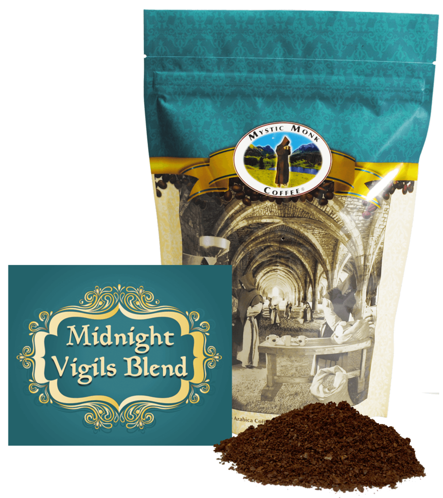 Mystic Monk Midnight Vigils Blend 12oz. Ground Coffee coffee, mystic monk, ground coffee, 12 oz bag, morning coffee, special blend, religious coffee, gift, drink, morning coffee,
