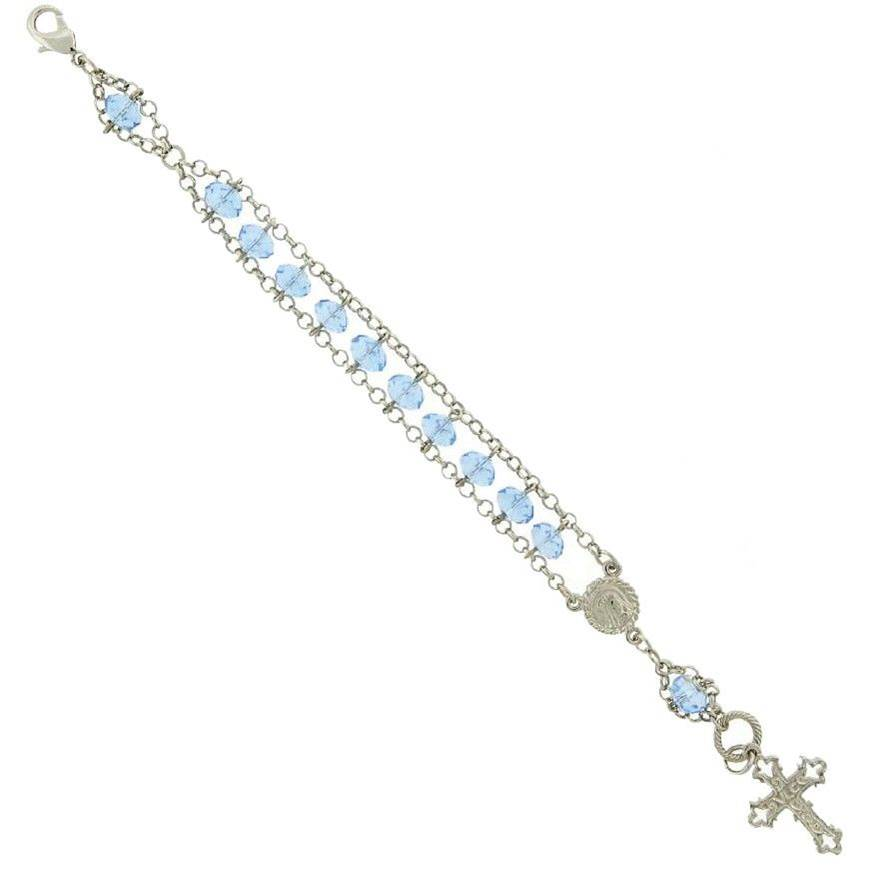 Silver-Tone Light Blue Bead Crucicfix Rosary Bracelet bracelet, jewelry, rosary bracelet, decade of the rosary, blue bead, blue bracelet, silver bracelet, 93040-45
