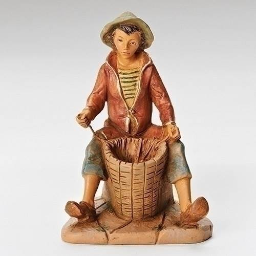 "5"" Allon Basket Weaver Fontanini Figurine"