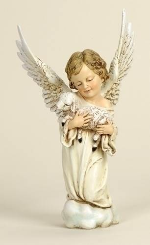 "14"" Angel with Lamb Statue angel, statue, figure, colored angel, angel and lamb, christmas angel, nativiy angel,29165"