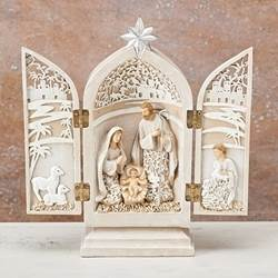 "8 1/2"" Nativity Triptych nativity, holy family, home d?cor, holiday d?cor, table top, christmas decorations, triptych, 30172"