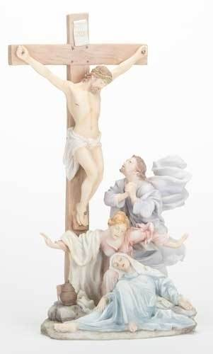"13"" The Crucifixion Statue statue, colored statue, resin statue, home decor, church decor, figurine, the crucifixion, jesus, easter, mary, 42947"