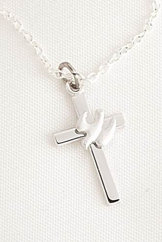 Cross and Dove Necklace Sterling Silver