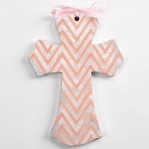 Pink Chevron Wall Cross