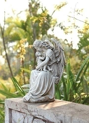 Angel with Baby Garden Statue angel statue, praying statue, outdoor angel statue, lawn decor, joseph studio, angel and baby, 65975