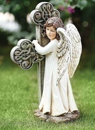 Angel Cross Statue angel,  prayer angel, angel gift, memorial angel, comfort angel. angel statue, angel figure, 65978, healing angel, garden angel,joseph studio, angel and cross, standing angel,