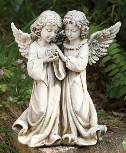 Angels with Bird Statue angel,  prayer angel, angel gift, memorial angel, comfort angel. angel statue, angel figure, 66745, healing angel, garden angel,joseph studio