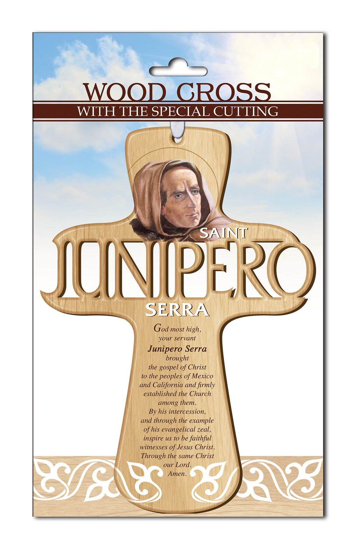 Saint Junipero Serra Carved Wall Cross