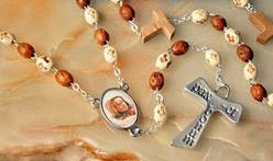 St. Junipero Serra Etced-Bead Rosary mexican saint, junipero serra, rosary, wood bead rosary, saint rosary, new saint