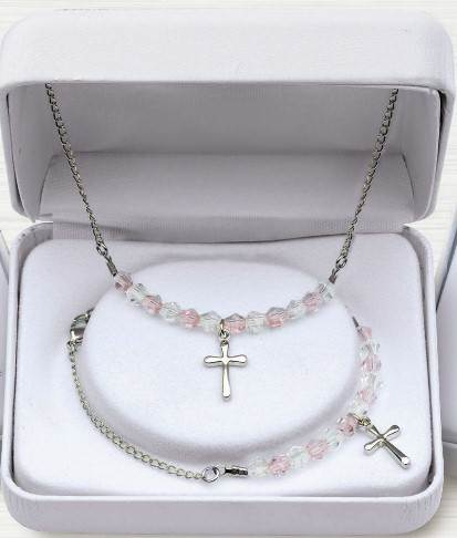 Pink Crystal and Rhodium Cross Bracelet and Necklace Set