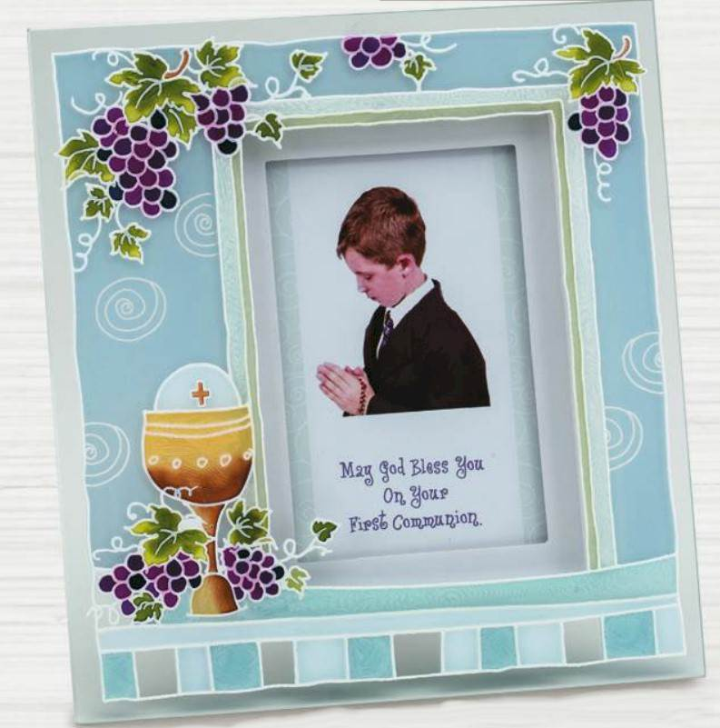 First Communion Blue Glass Frame first communion frame, table frame, sacramental gift, picture frame, holy eurcharist gift, N2149B