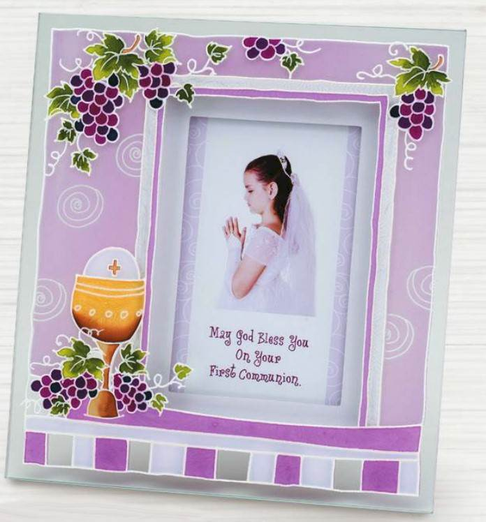 First Communion Pink Glass Frame