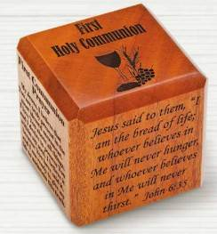 First Communion Wood Cube