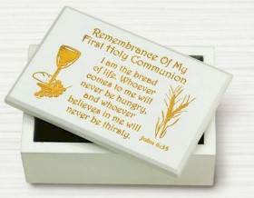 First Communion White Wood Keepsake Box