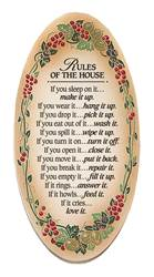 Rules of the House Oval Wood Plaque
