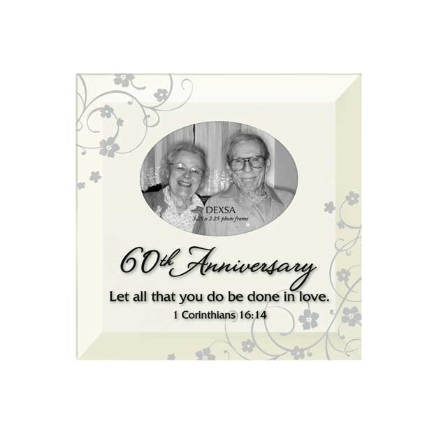 60th Anniversary Glass Photo Frame