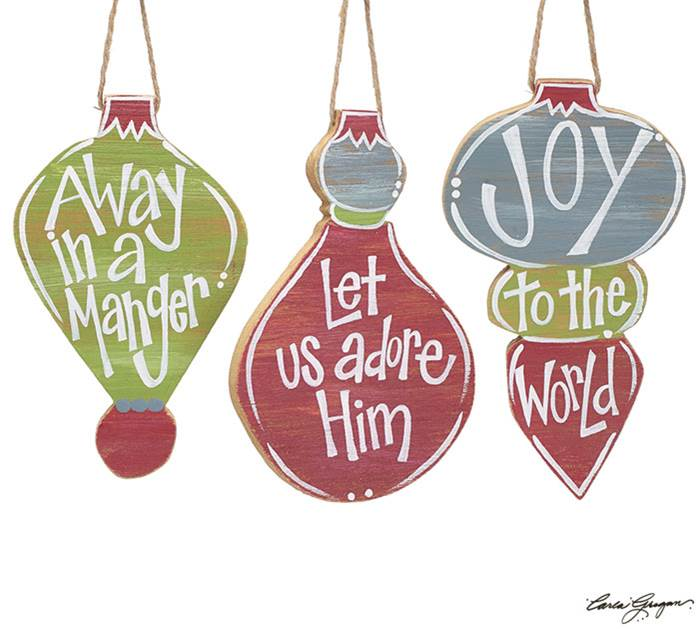 Assorted Hand Painted Wood Ornaments with Message