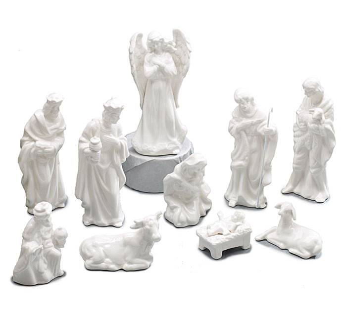 "5"" White Porcelain Nativity Set"