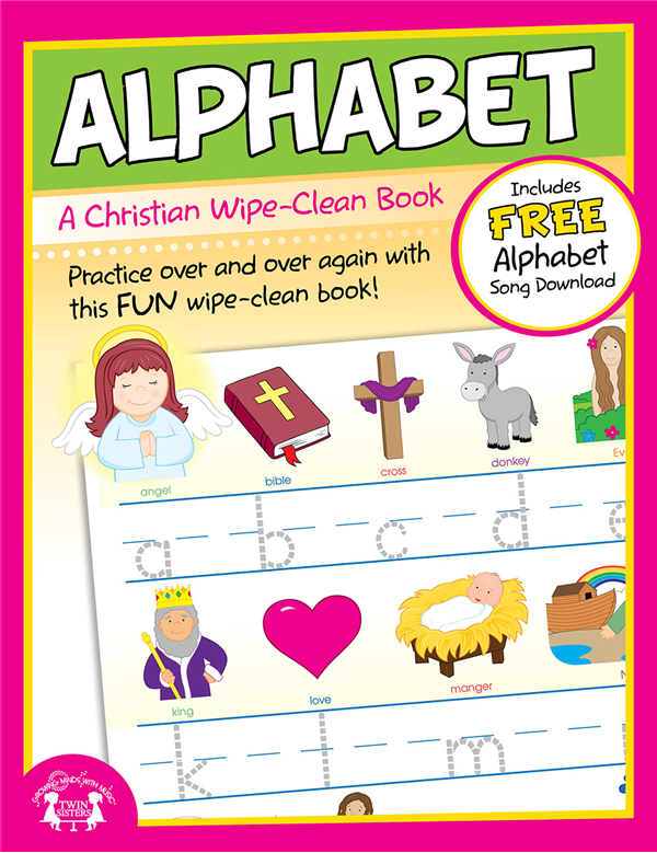Alphabet Christian Wipe-Clean Workbook 978-63058-830-4, wipe off games, activities,childrens activity book, teachers tool, travel book, travel activities, childrens gift, holiday gift, Sunday school materials, teachers material,8304