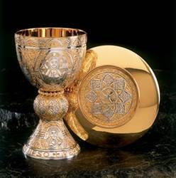 "2330 ""Tassilo"" Chalice and Paten  chalice and paten, chalice, silver chalice, gold plated, silver cup, sterling silver, church goods, church supplies, 2330,two tone,  molina, artistic silver,"