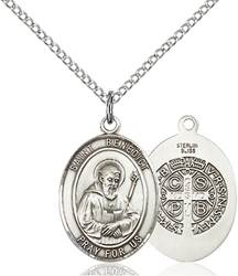St. Benedict Pendant St. Benedict ,Monks and Poison Sufferers,Patron Saints,Patron Saints - B, sterling silver medals, gold filled medals, patron, saints, saint medal, saint pendant, saint necklace, 8008,7008,9008,7008SS,8008SS,9008SS,7008GF,8008GF,9008GF,