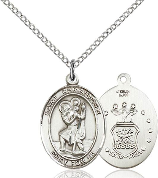 St. Christopher / Air Force Pendant St. Christopher / Air Force ,Travelers , Hazards when traveling and Motorist.,Military,Air Force, sterling silver medals, gold filled medals, patron, saints, saint medal, saint pendant, saint necklace, 8022,7022 Air Force,9022 Air Force,