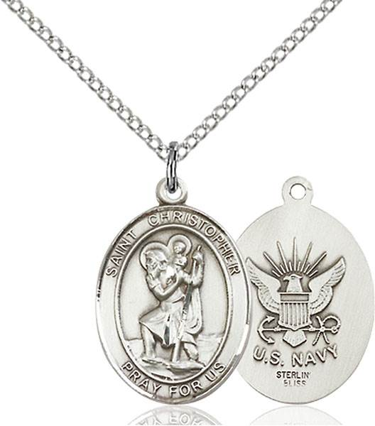 St. Christopher / Navy Pendant St. Christopher / Navy ,Travelers , Hazards when traveling and Motorist.,Military,Navy, sterling silver medals, gold filled medals, patron, saints, saint medal, saint pendant, saint necklace, 8022,7022 Navy,9022 Navy,