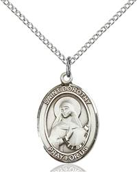 St. Dorothy Pendant St. Dorothy ,Florists and Brides,Patron Saints,Patron Saints - D, sterling silver medals, gold filled medals, patron, saints, saint medal, saint pendant, saint necklace, 8023,7023,9023,7023SS,8023SS,9023SS,7023GF,8023GF,9023GF,