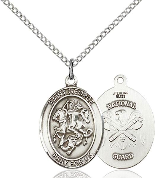 St. George / National Guard Pendant St. George / National Guard ,Boy Scouts and Soldiers,Military,National Guard, sterling silver medals, gold filled medals, patron, saints, saint medal, saint pendant, saint necklace, 8040,7040 National Guard,9040 National Guard,