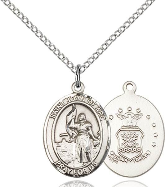 St. Joan of Arc / Air Force Pendant St. Joan Of Arc / Air Force ,Soldiers and France,Military,Air Force, sterling silver medals, gold filled medals, patron, saints, saint medal, saint pendant, saint necklace, 8053,7053 Air Force,9053 Air Force,